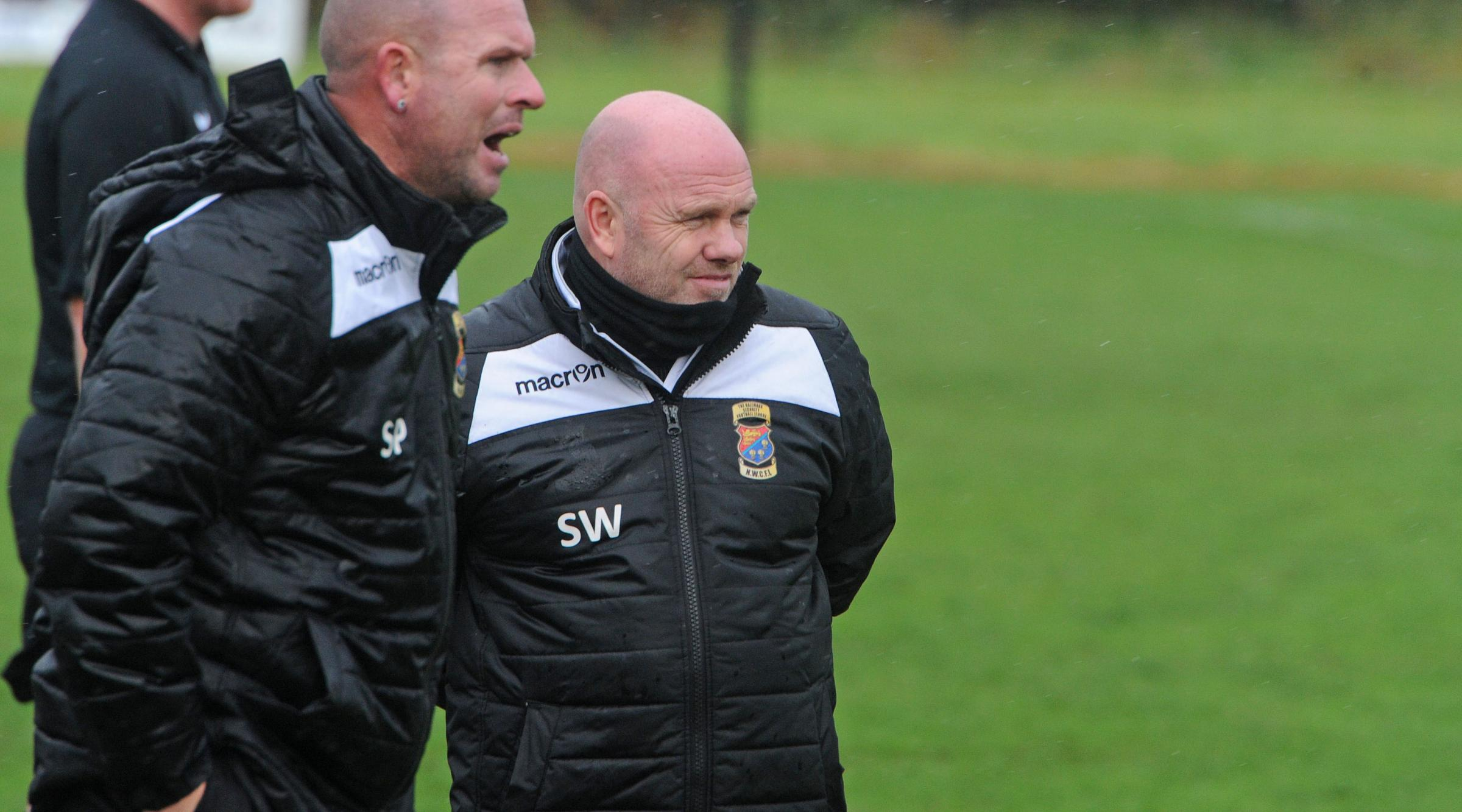 Northwich Victoria's management team, Steve Pickup (left) and Steve Wilkes, hope to put one over on their former club when Padiham visit Townfield