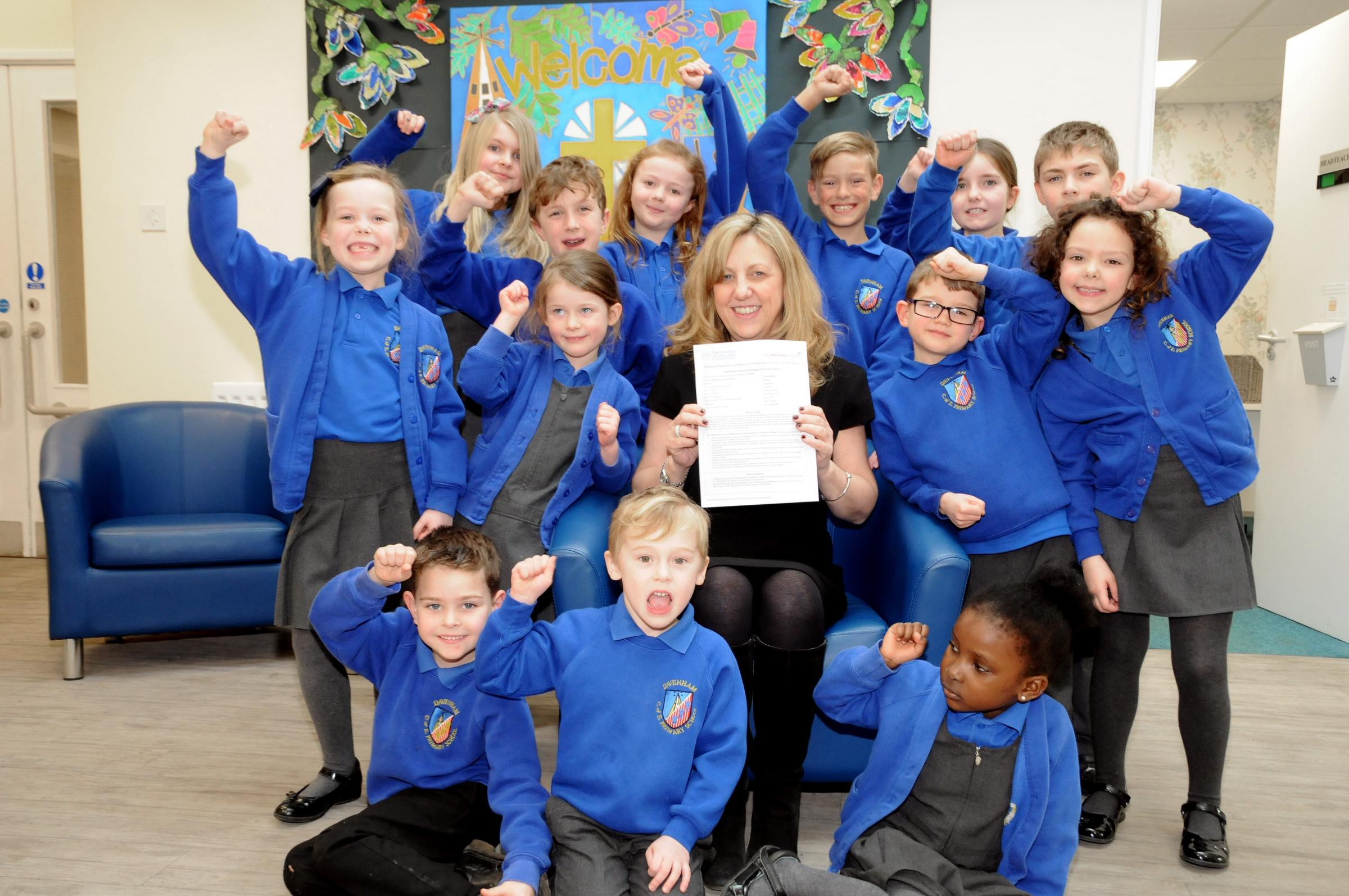 Davenham C of E Primary School Headteacher Joanne Hyslop and pupils after being awarded outstanding grades in recent school inspection