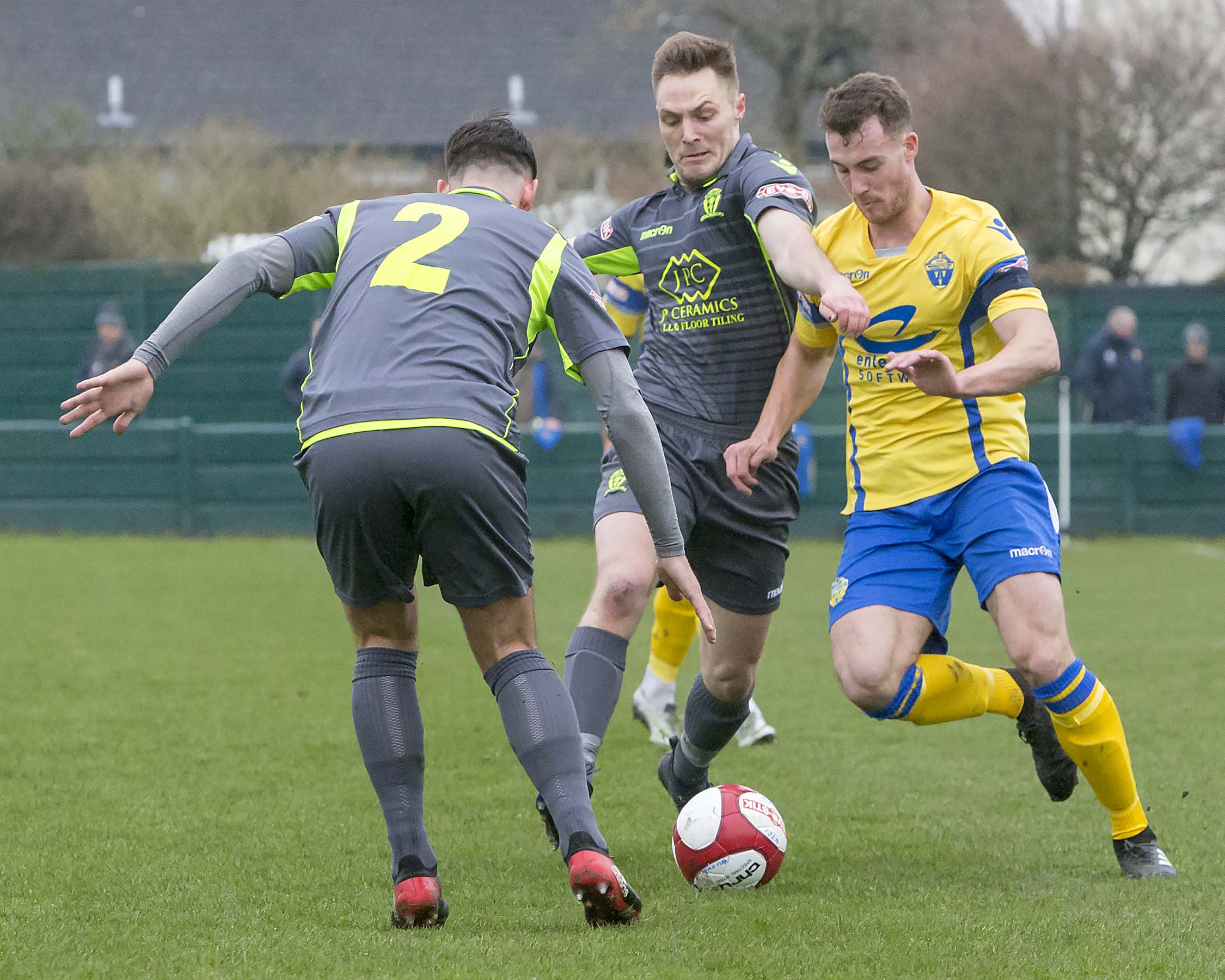 Liam Goulding, right, pictured in action against Witton Albion for Warrington Town during a Northern Premier League fixture. Picture: John Hopkins
