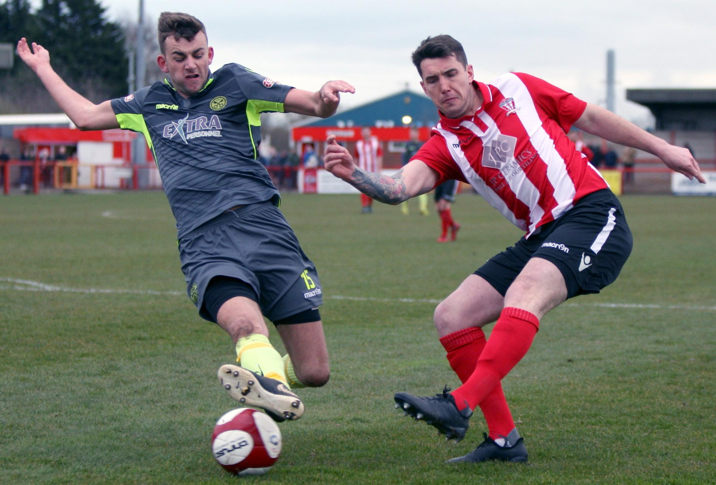 Paul Williams and his Witton Albion teammates are hoping to keep alive their hopes of reaching the play-offs by winning tomorrow. Picture: Keith Clayton