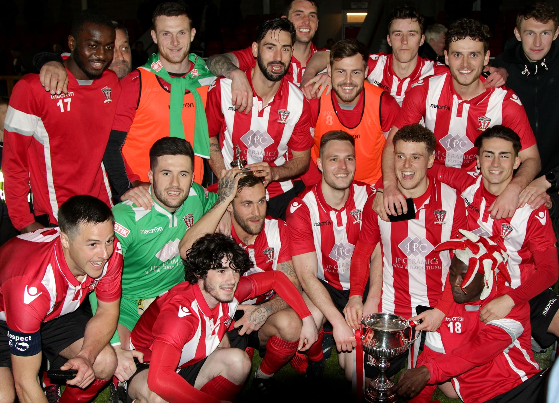 Witton Albion's players celebrate following a 1-0 win that saw them collect the Mid-Cheshire District FA Senior Cup. Picture: Karl Brooks Photography