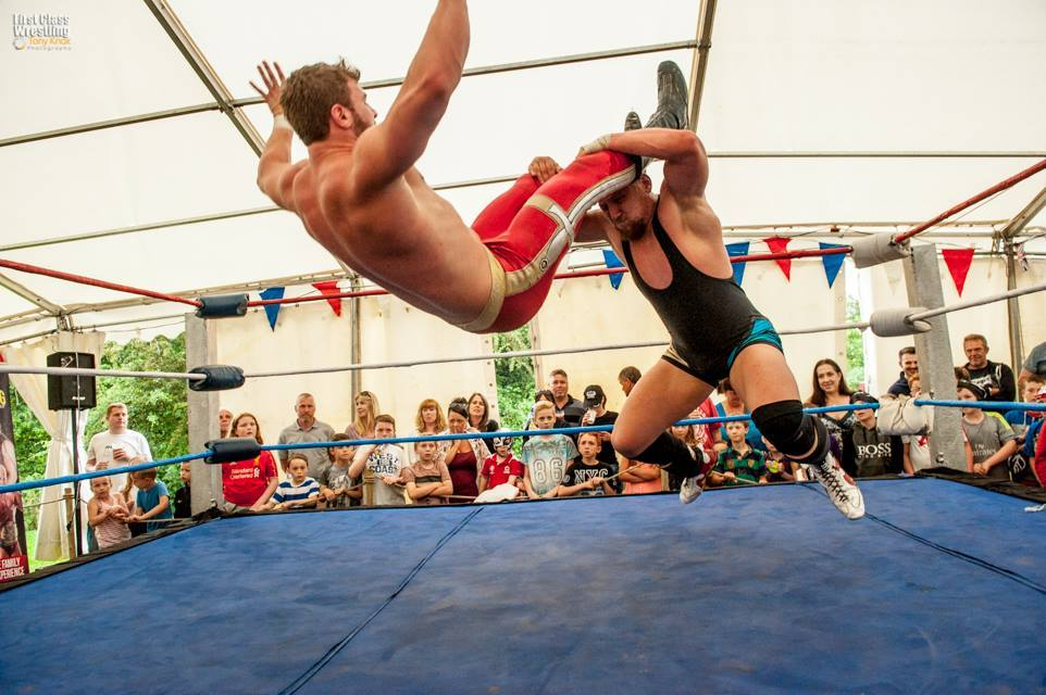 Wrestlers in action at the Leigh Arms