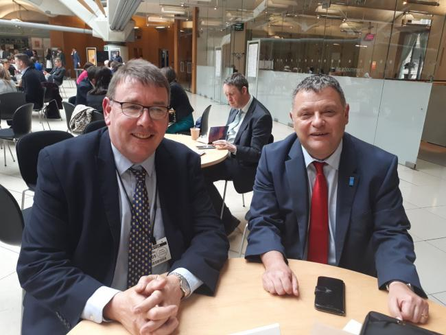 Weaver Vale MP Mike Amesbury (right) with Roger Grigg from the Universities and Colleges Union