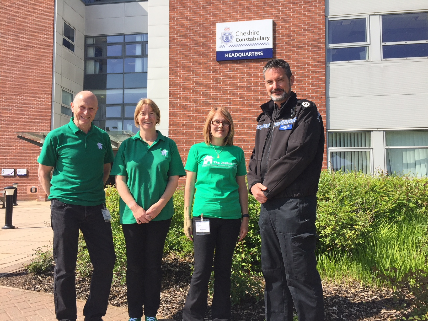 •From left, The Joshua Tree's Business Development Director Pete Smith, Operations Manager Jo Garner and Community Events Co-Ordinator Fran Wilson with Cheshire Constabulary's Assistant Chief Constable Nick Bailey