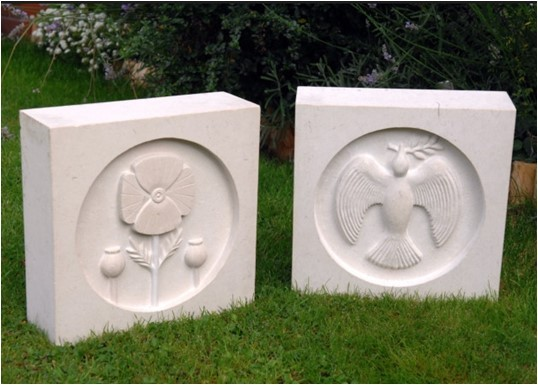 The memorial stones, carved by Keith Carter-Harris, will be placed in the completed garden on Linnards Lane