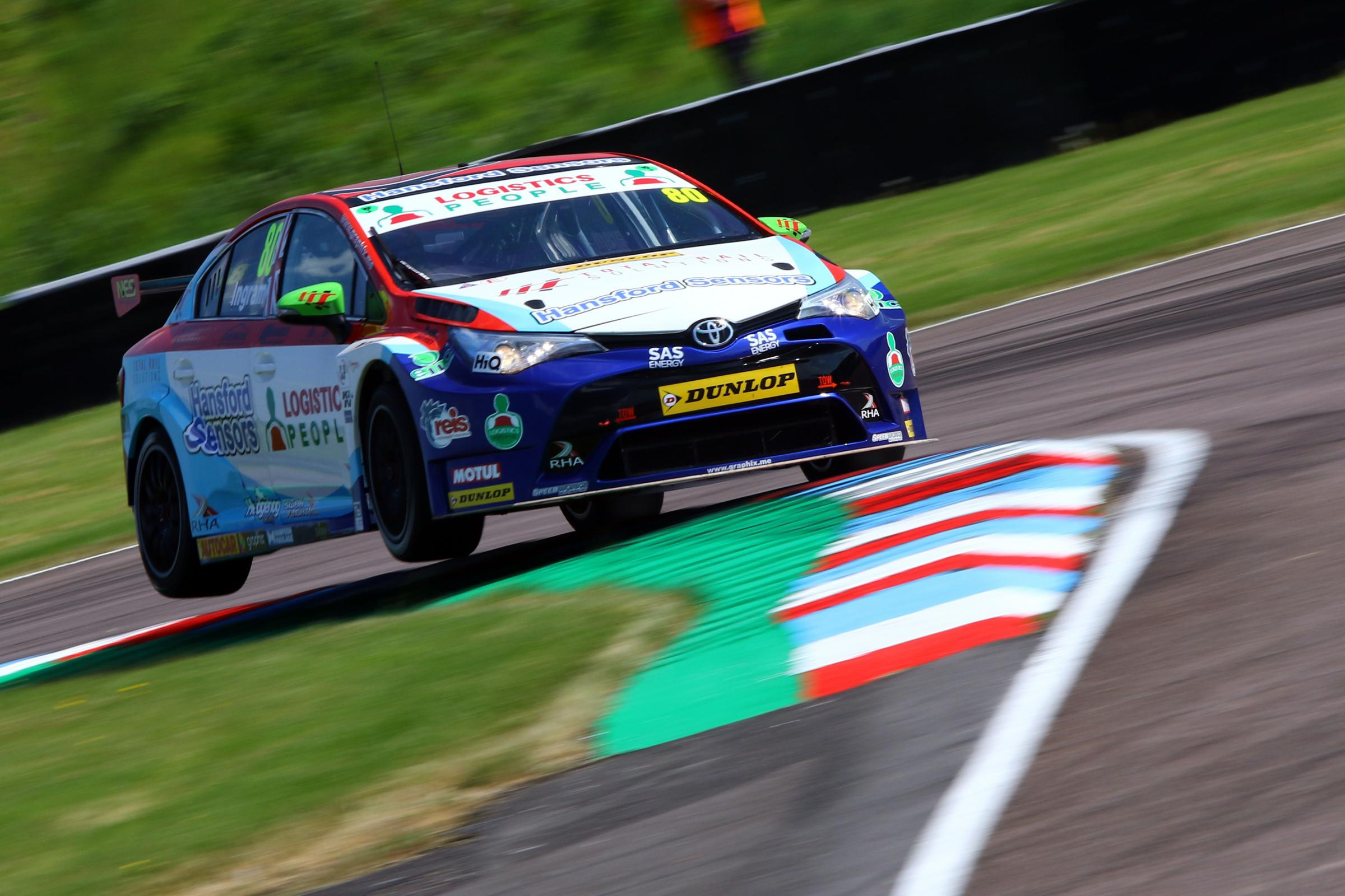 Tom Ingram on the attack behind the wheel of Speedworks Motorsport's Toyota Avensis during qualifying for the British Touring Car Championship's third round at Thruxton last Saturday. Picture: Matt Sayle Photography