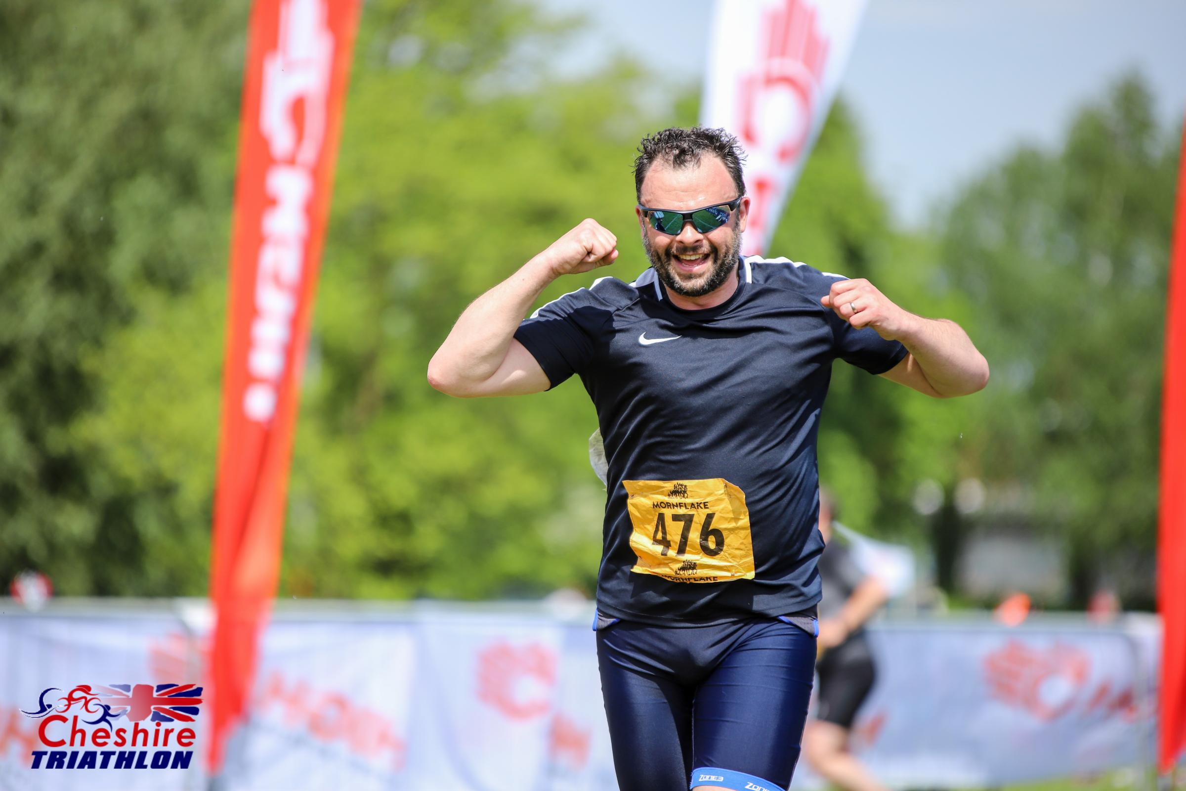 Cransley head teacher Richard Pollock after completing the triathlon