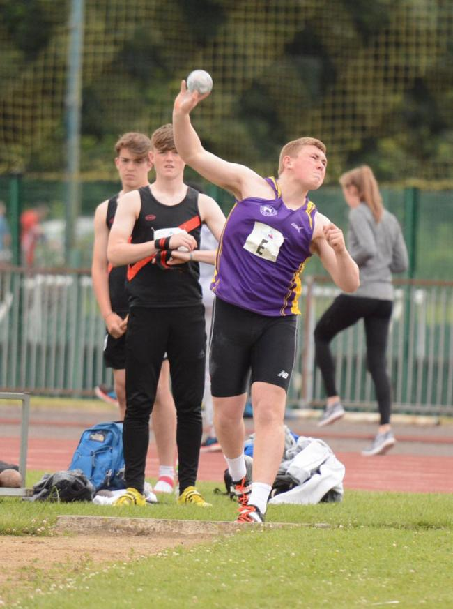 George Hyde puts all his might into a throw. Picture: Jon Tipping