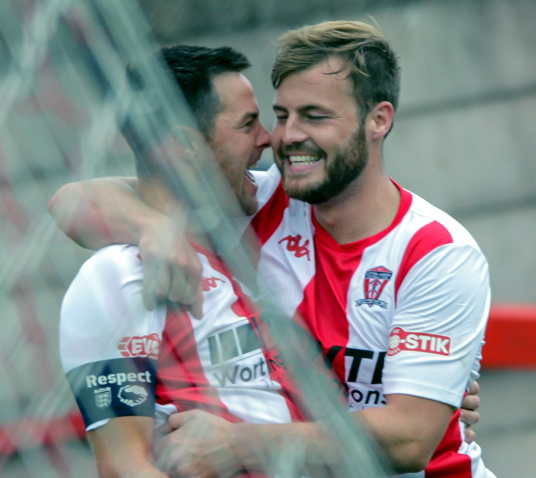 Rob Hopley, left, and Will Jones had reason to celebrate after Witton Albion inflicted on Nantwich Town a 2-0 defeat during the teams' previous meeting in the Northern Premier League earlier this season. Picture: Karl Brooks Photography