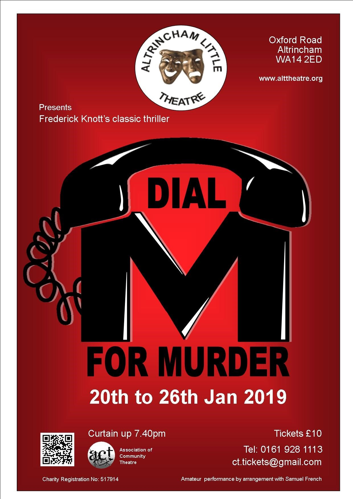 Dial M for Murder, based on the 1954 film by Alfred Hitchcock, is being brought to the stage by Altrincham Little Theatre.