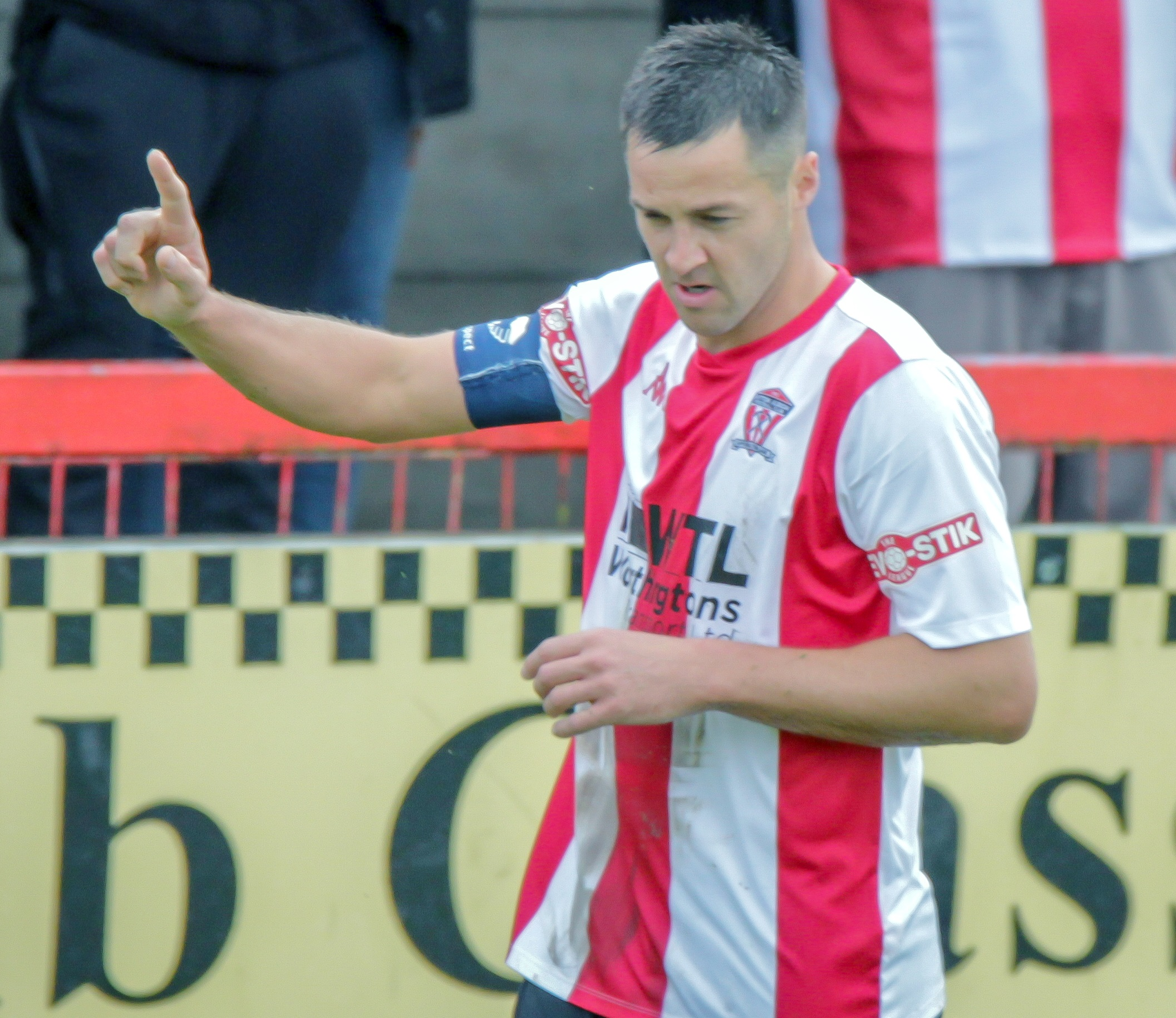 Rob Hopley salutes Witton Albion's supporters after scoring his side's second goal in a 5-0 win against Bottesford. Picture: Karl Brooks Photography