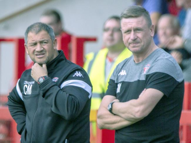 Witton Albion manager Carl Macauley, left, and his assistant Gary Martindale will once again be on their travels when a new season starts next month. Picture: Karl Brooks Photography
