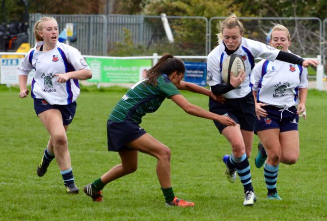Hanna Lydiate, pictured in action earlier this season, was a try-scorer for Winnington Park Ladies when they succumbed to their Littleborough counterparts in the RFU Women's Junior Cup. Picture: John Pickering