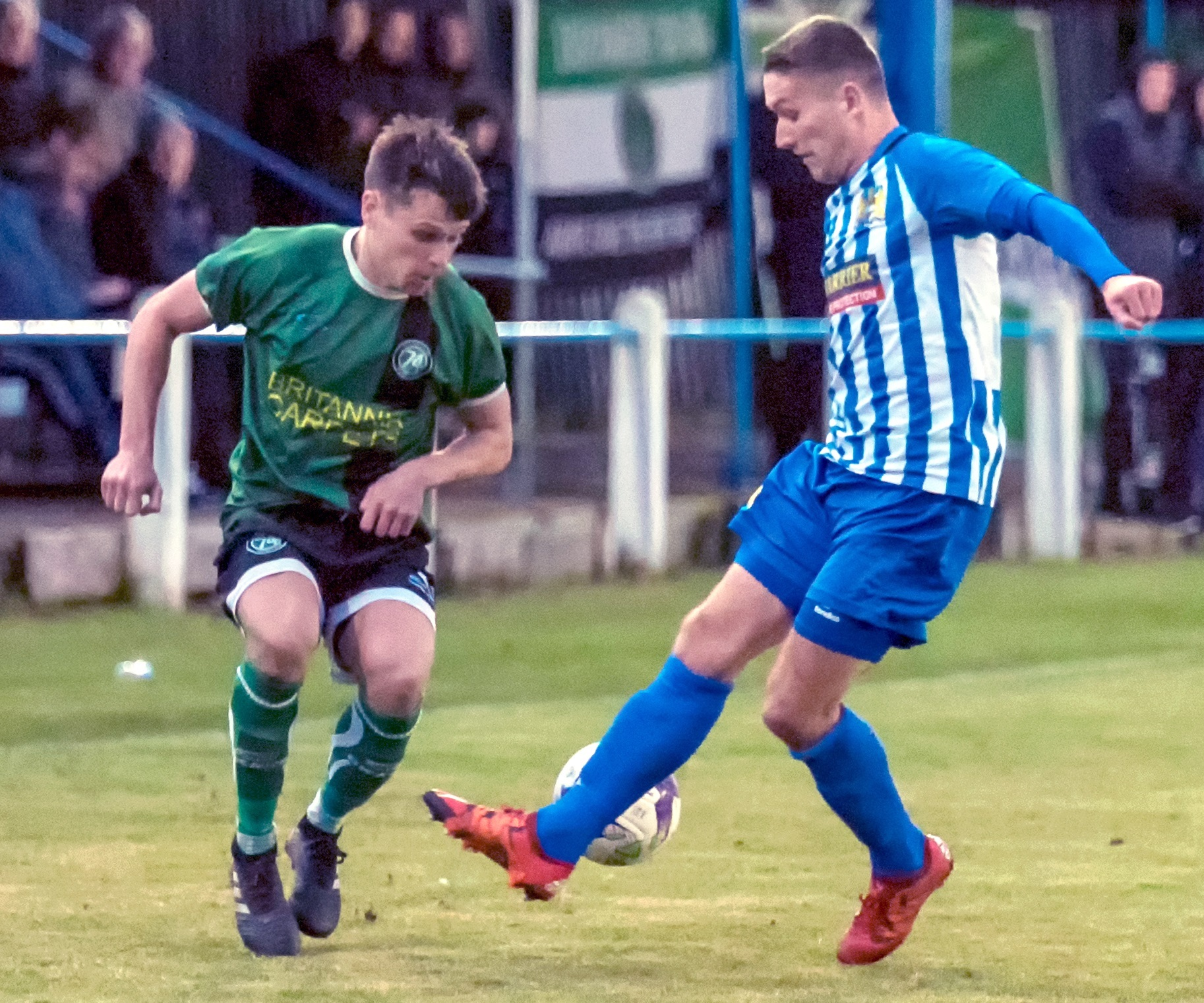 Full-back Paul Connor attempts to escape the attention of a Newcastle Benfield player during an 1874 Northwich attack on Saturday. Picture: Ian Dutton