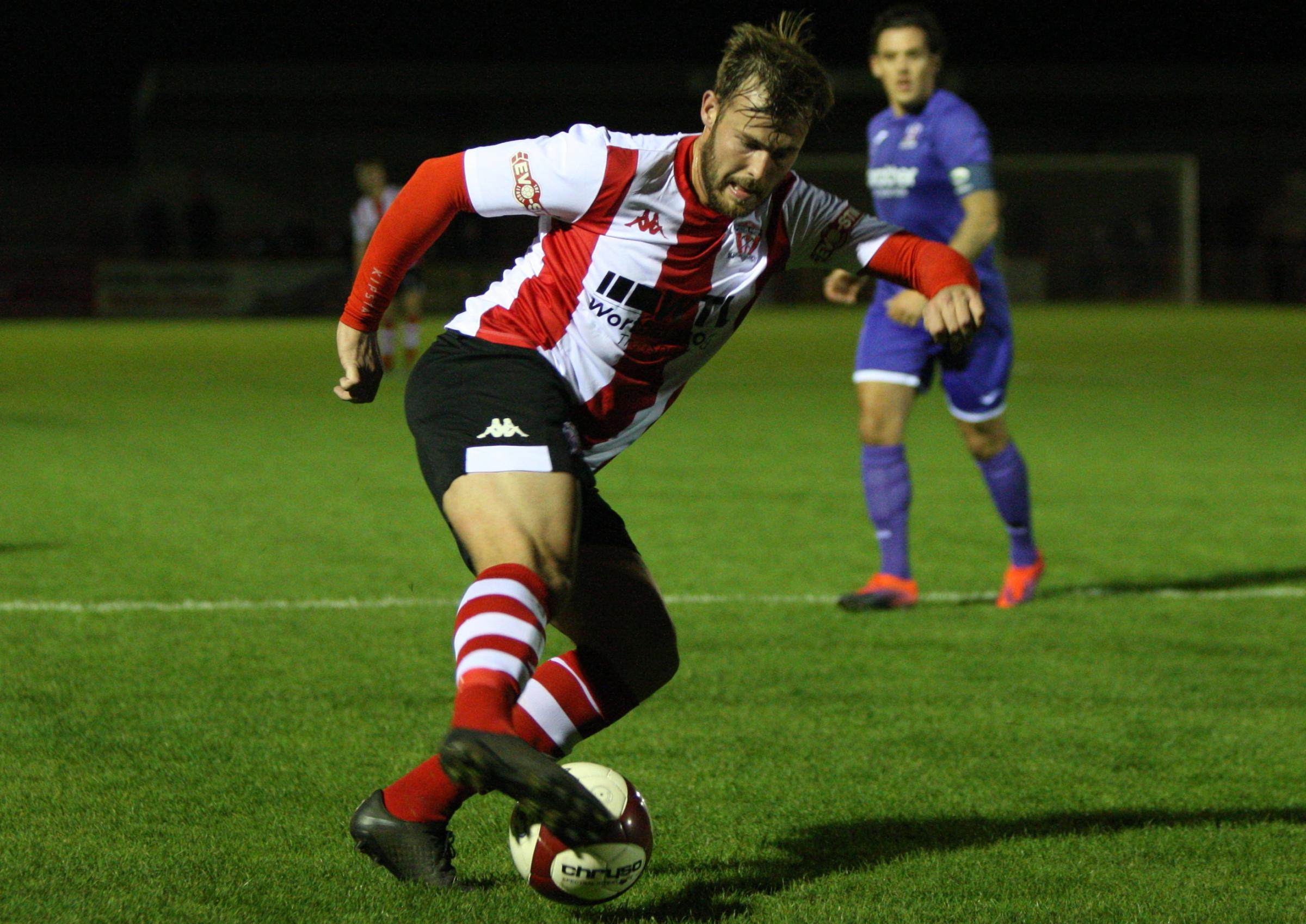 Will Jones had reason to be cheerful after ending a wait to score for Witton Albion in a Northern Premier League fixture during last weekend's five-goal thrashing of Buxton. Picture: Keith Clayton