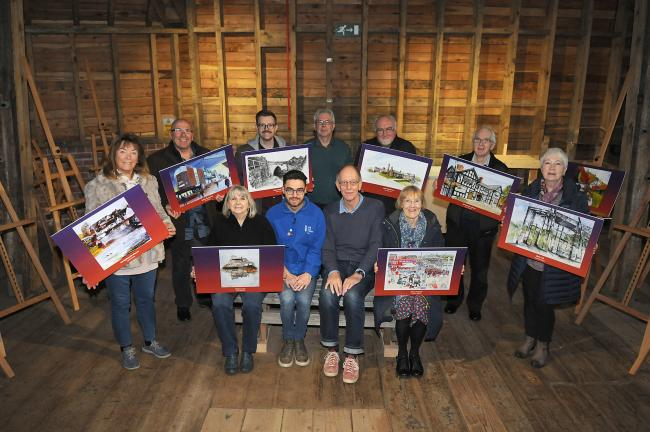 Calendar artists with Jonathan Nash (front, blue) of Cheshire West Museums and Phil Carr of Visual Arts Cheshire