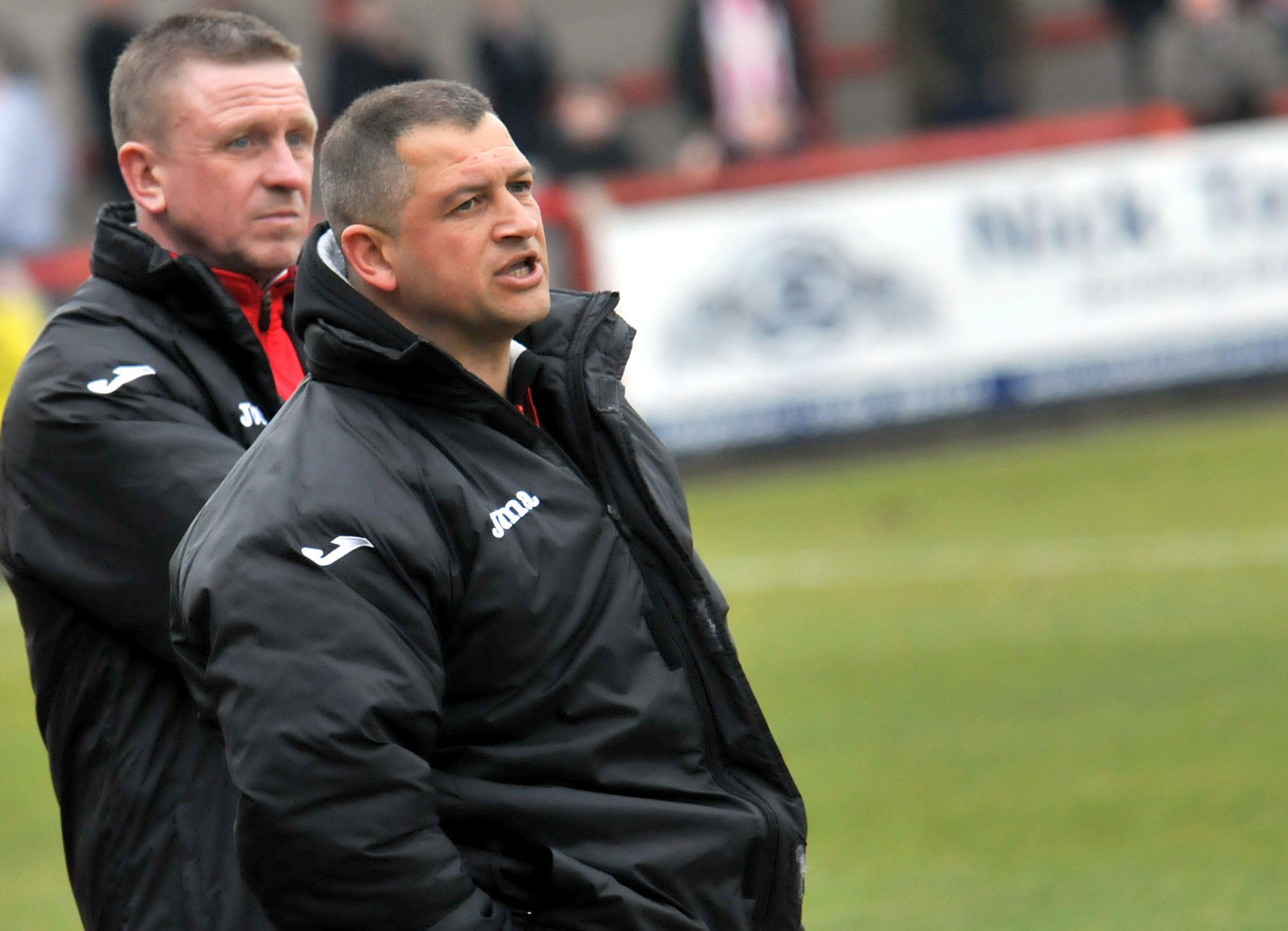 Carl Macauley, Witton Albion's manager, with assistant Gary Martindale