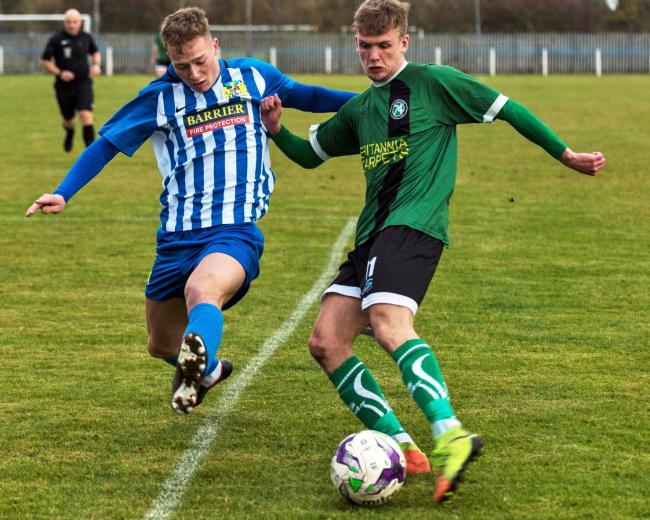 Taylor Kennerley in action for 1874 Northwich during an FA Vase encounter with Northern League side Newcastle Benfield earlier this season. Picture: Ian Dutton