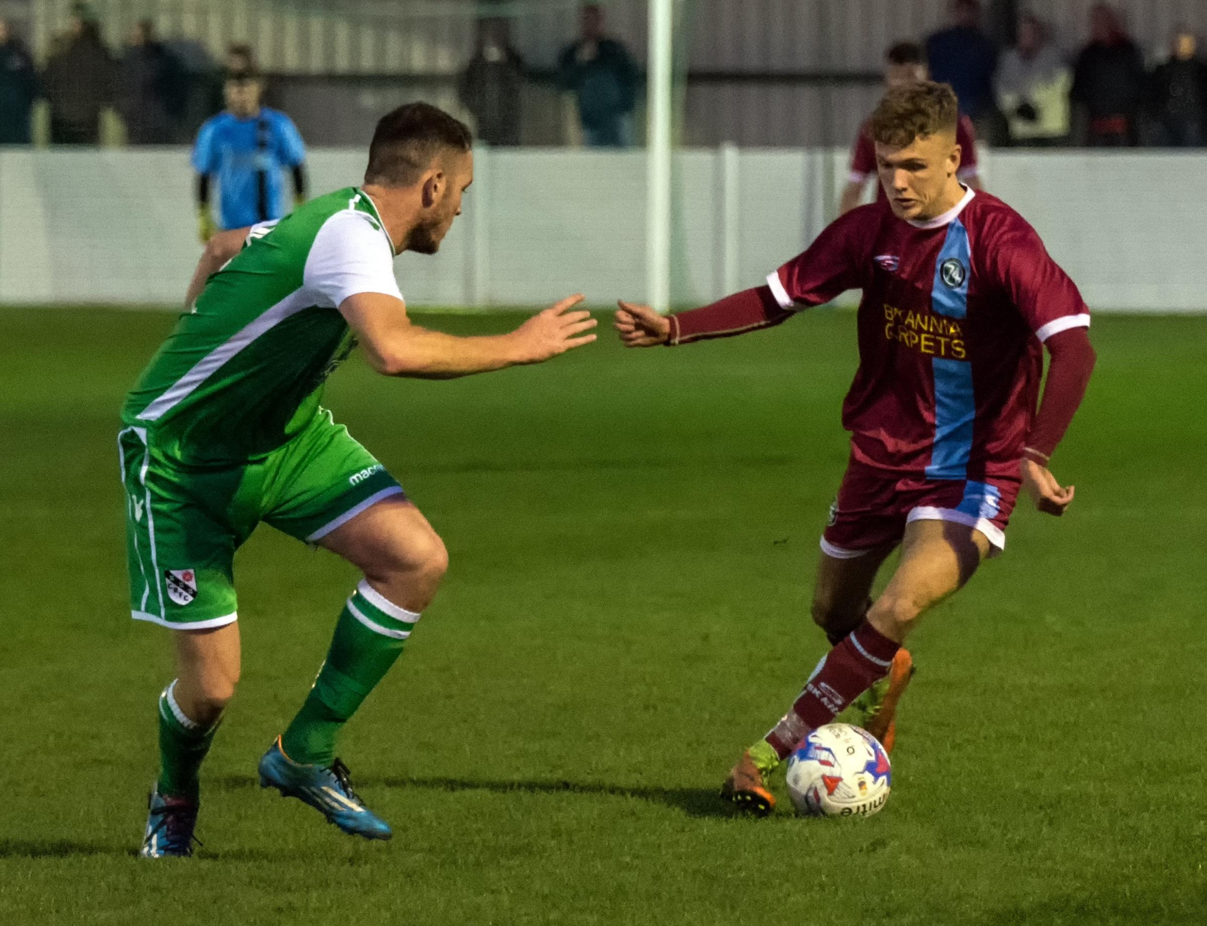 Wide man Taylor Kennerley has added goals to his game for 1874 Northwich this season and his improvement has been rewarded with the offer of a contract. Picture: Ian Dutton