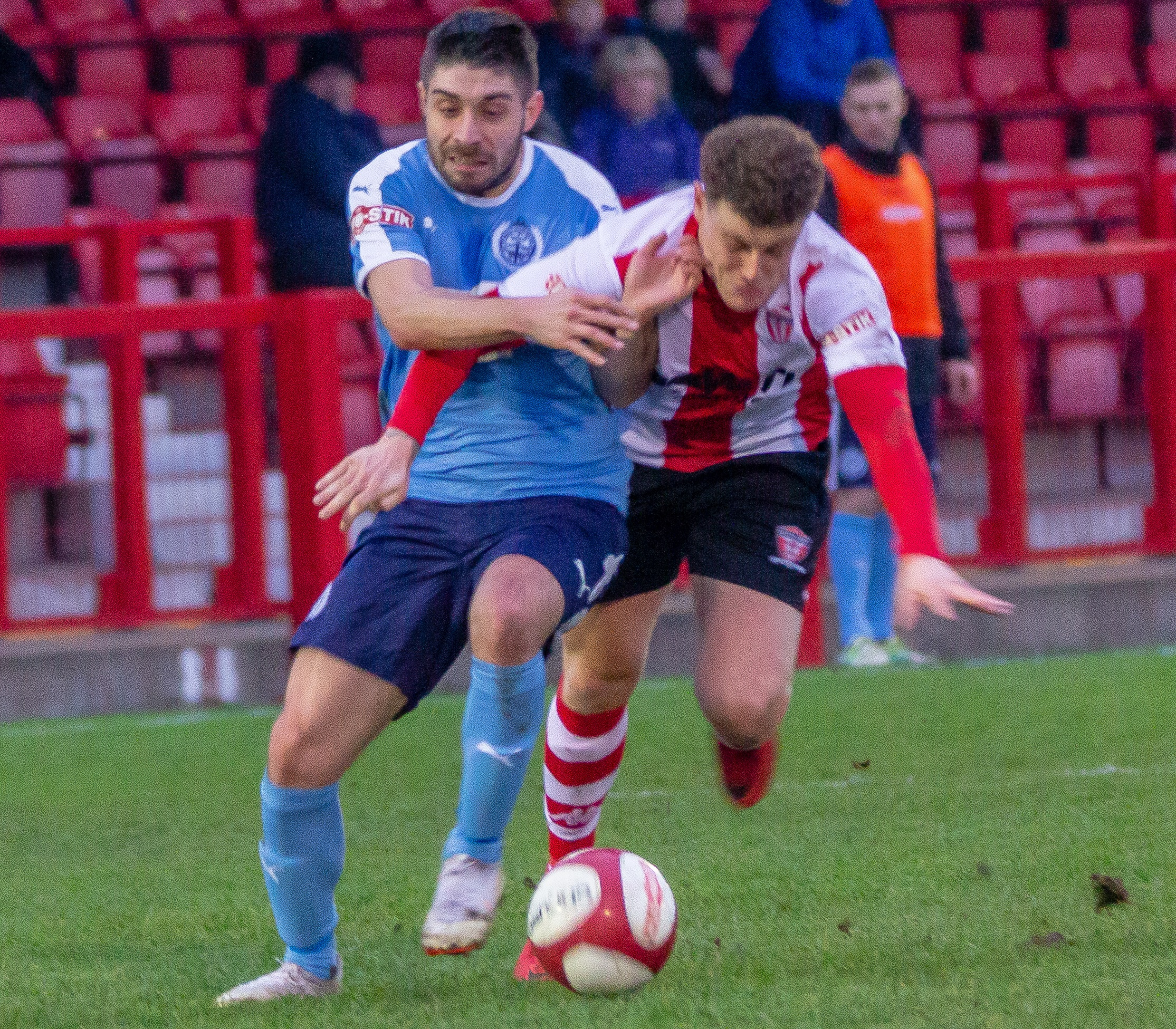 South Shields attacker Josh Gillies, left, battles with Witton Albion's James Foley for possession during their team Northern Premier League meeting at Wincham Park on Saturday. Picture: Karl Brooks Photography