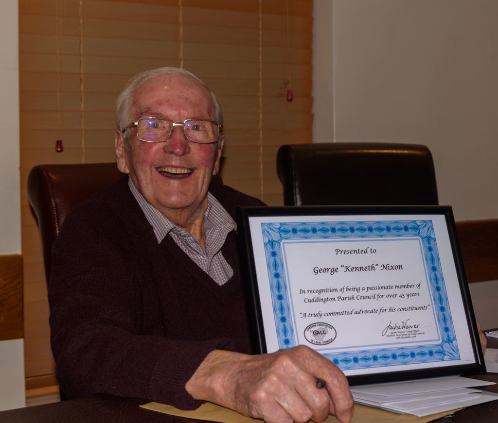 Cllr Ken Nixon was rewarded for his long service to the parish council and the community (Picture by Lee Jones)