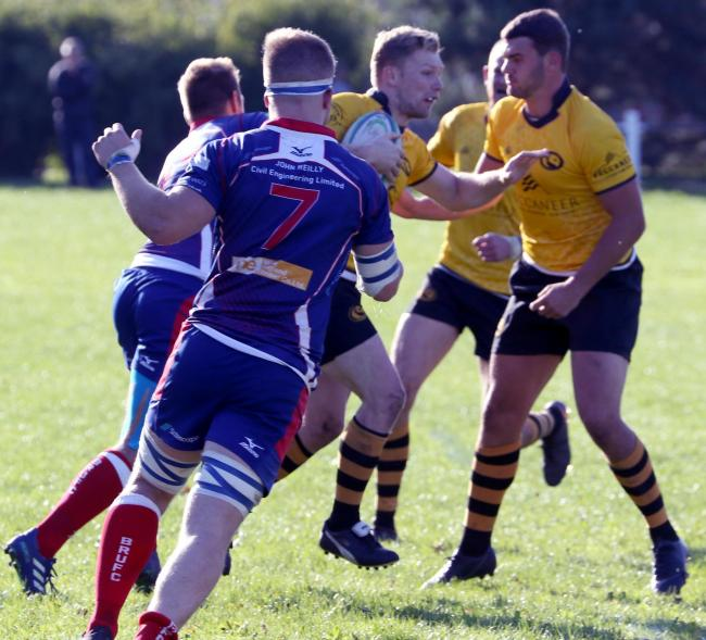 Bud Skinkis, pictured in action during the return game against Blackburn, was one of Northwich's scorers in a 33-12 defeat at Ramsgreave Drive last weekend