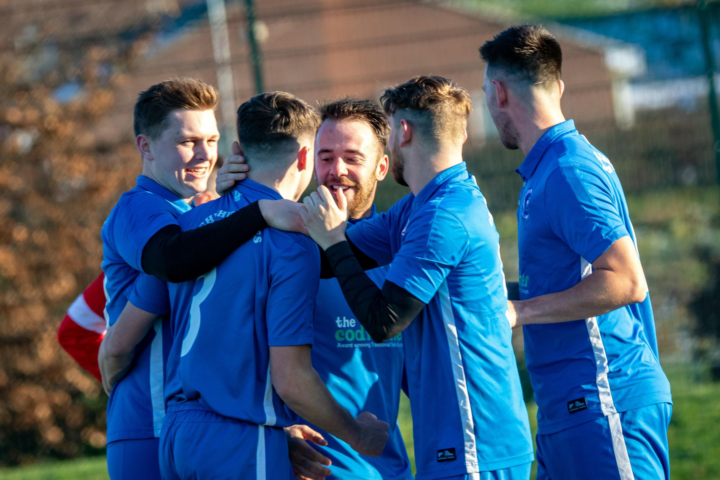 Lostock Gralam's players had reason to celebrate after putting four goals past neighbours Winnington Avenue 1994 in a Mid-Cheshire District FA Saturday Challenge Cup quarter-finals encounter at Moss Farm last weekend. Picture: Karl Brooks Photography