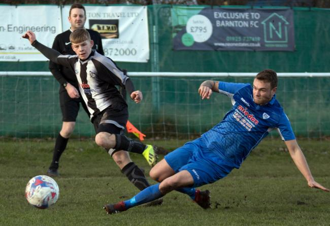 Leon Wright seeks to pick out a teammate during Barnton's 1-0 defeat against Cammell Laird in the North West Counties League's First Division South at Townfield on Saturday. Picture: Robert Hardley