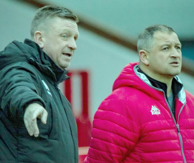 Manager Carl Macauley, right, and his assistant Gary Martindale have made steady progress while starting to assemble Witton Albion's squad for next season. Picture: Karl Brooks Photography
