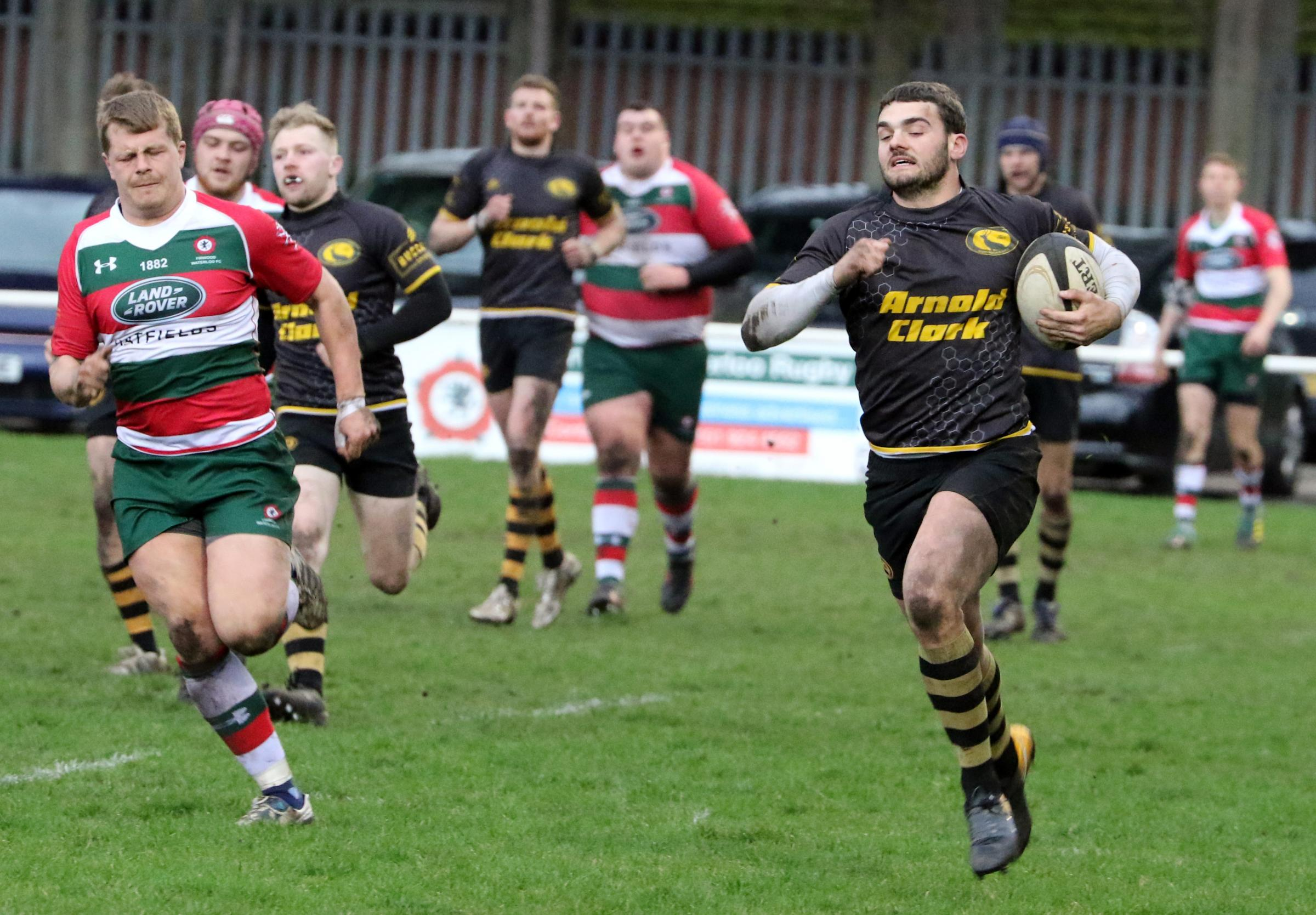 Joel Barber scored a hat-trick of tries for Northwich when they completed a double over Firwood Waterloo with a 27-20 victory at the Memorial Ground on Saturday. Picture: Ken Houghton