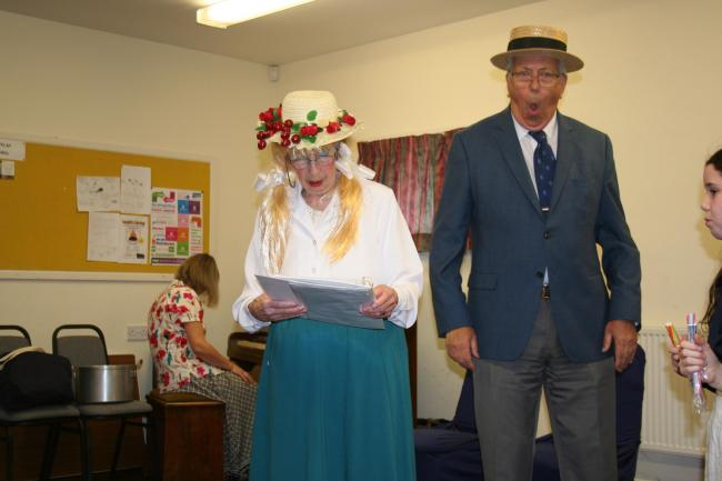 Pam Drinkwater as Arabella Grimthorpe and Victor Black as Gerald Grimthorpe