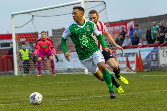 Brian Matthews' goal during the first-half of Northwich Victoria's meeting with West Didsbury & Chorlton in the North West Counties League was his 50th since signing for the club. Picture: Karl Brooks Photography