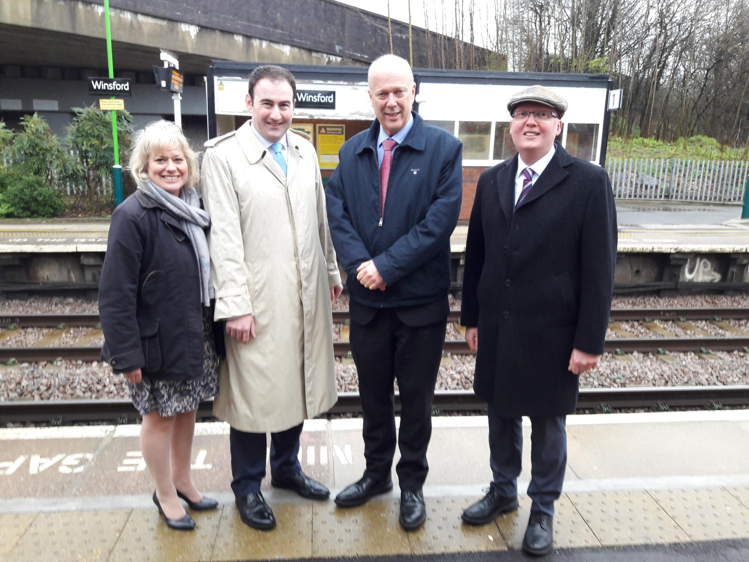 From left: Cllr Lynn Riley, Cllr James Pearson, Chris Grayling MP and Cllr Mike Baynham at Winsford train station