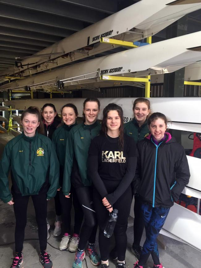 Tess Asteriades, third from right, is training again with her friends in Northwich Rowing Club's junior girls' squad as she continues to recover from being diagnosed with follicular thyroid cancer last year