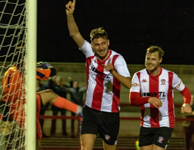 Ben Harrison celebrates after putting Witton Albion ahead during a 1-1 draw with Stafford Rangers in a Northern Premier League fixture at Wincham Park on Tuesday. Picture: Karl Brooks Photography