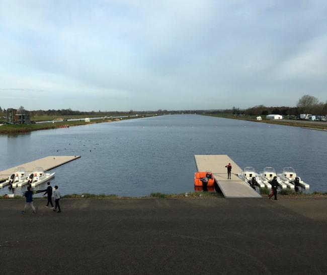 The scene at Dorney Lake, in Buckinghamshire, on Monday for the Oarsport Junior Sculling Head where a boys crew from Grange School won a silver medal in their boat class