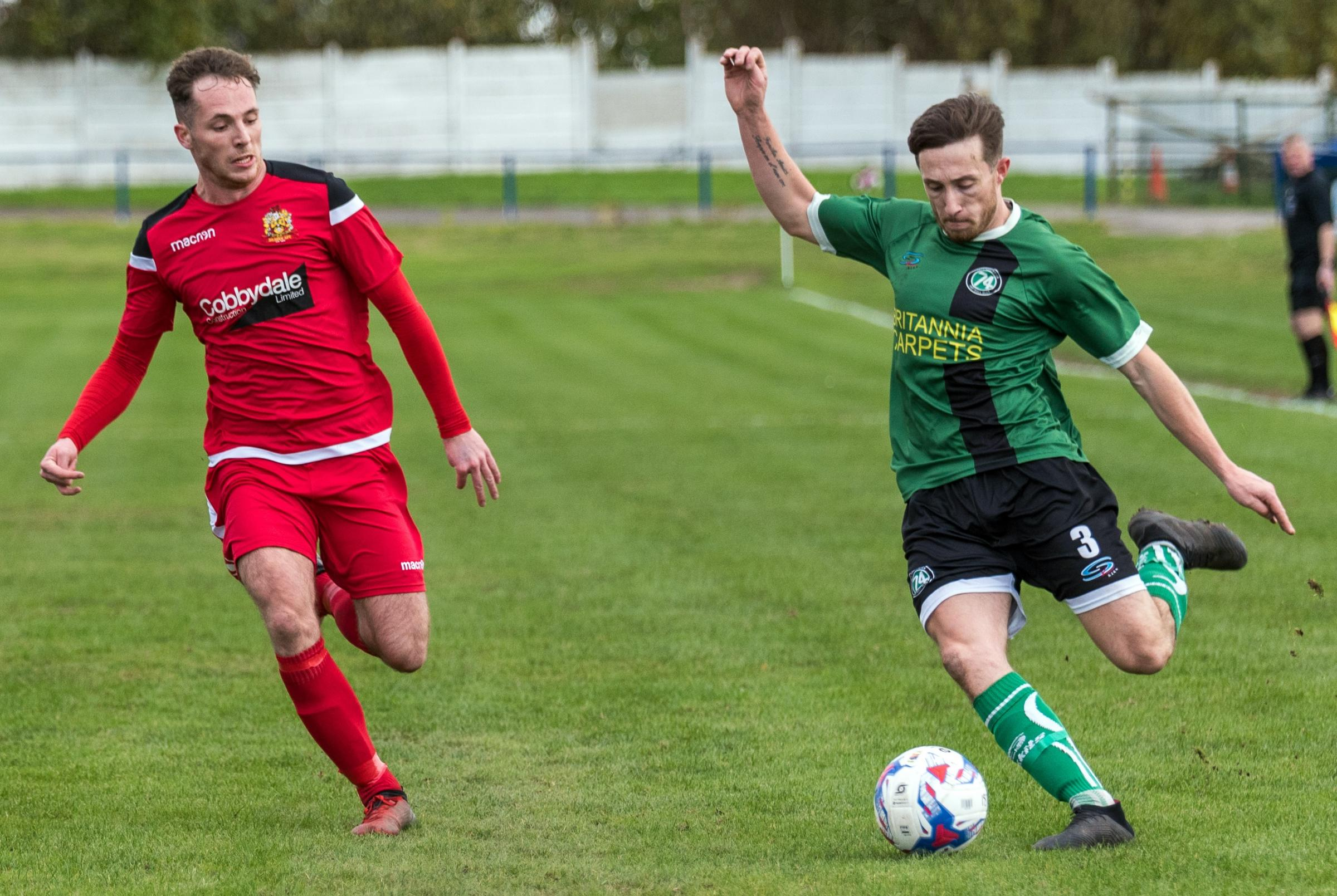 Matty Russell, right, and his 1874 Northwich teammates ran out convincing 5-0 victors when they hosted Silsden in a North West Counties League encounter back in October. Picture: Ian Dutton