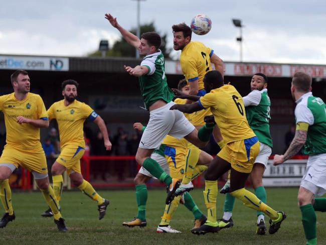 Northwich Victoria could not be separated from Chertsey Town when the teams met in the first leg of an FA Vase semi final at a blustery Wincham Park on Saturday. Picture: Jonathan White