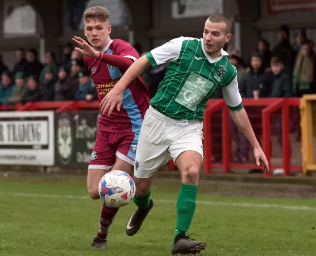 Joe Camozzi and his Northwich Victoria teammates will take on Taylor Kennerley and 1874 Northwich in a Mid-Cheshire District FA Senior Cup encounter before the end of the season. Picture: Ian Dutton