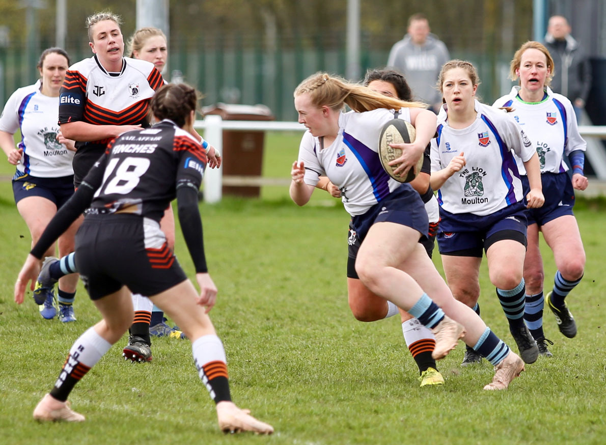 Nessa Hadley carries the ball forward during a Winnington Park Ladies attack when they edged out Workington Ladies last Sunday in an RFU Women's National Challenge fixture at Burrows Hill. Picture: John Pickering