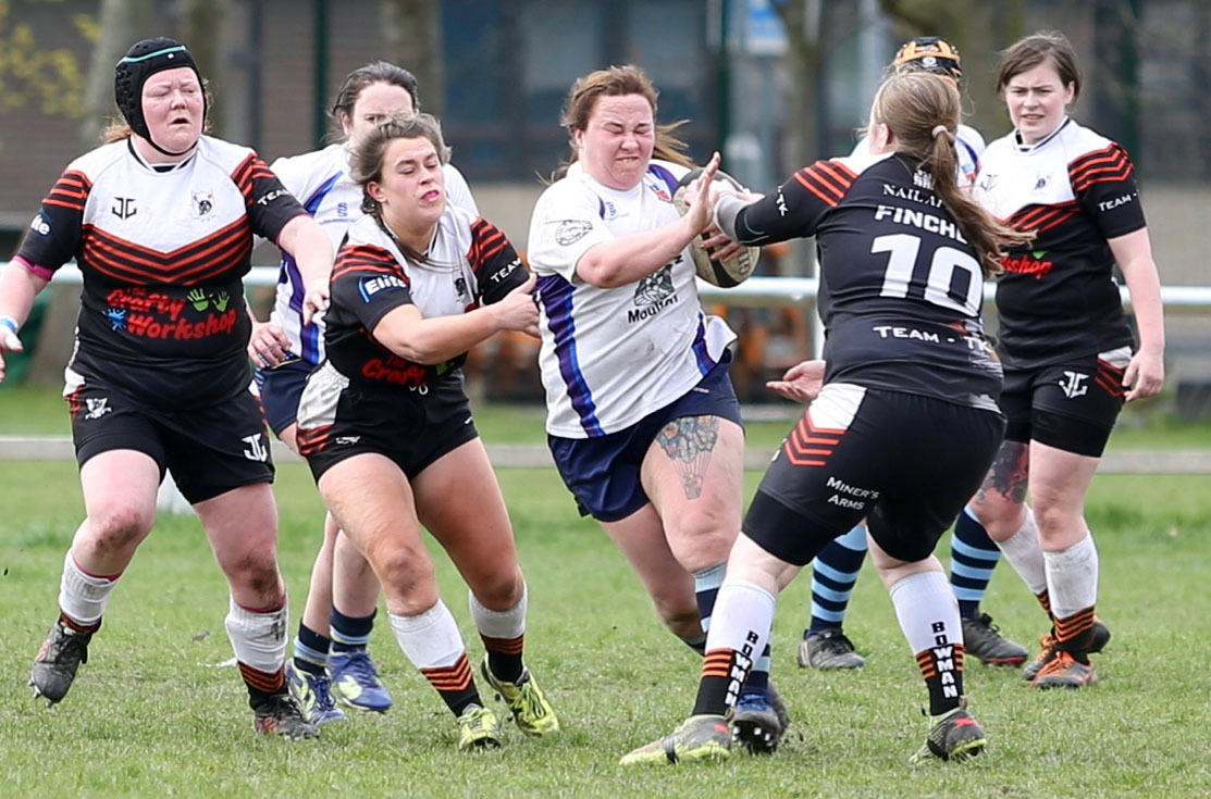 Laura Underdown, pictured in action for Winnington Park Ladies against their Workington counterparts last month, is part of a Cheshire side scheduled to play Staffordshire on Sunday. Picture: John Pickering