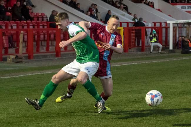 Scott McGowan, 1874 Northwich's leading goal-scorer, could not find a way past Brandon Barski and the rest of Northwich Victoria's defence during a Mid-Cheshire District FA Senior Cup semi-final on Thursday. Picture: Ian Dutton