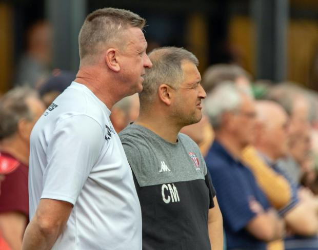 Northwich Guardian: Gary Martindale, left, and Carl Macauley have been Witton Albion's management team since they were appointed in October 2015. Picture: Karl Brooks Photography