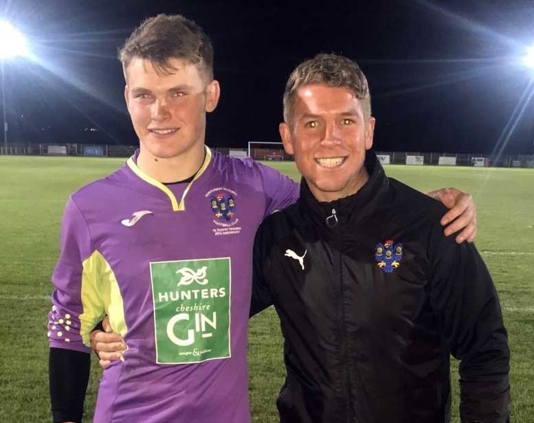 Jonty Cottam, left, graduated from Northwich Victoria's junior section to make his first-team debut in a draw with Silsden on Wednesday. The 16-year-old is pictured with goalkeeper coach Rob Sadler
