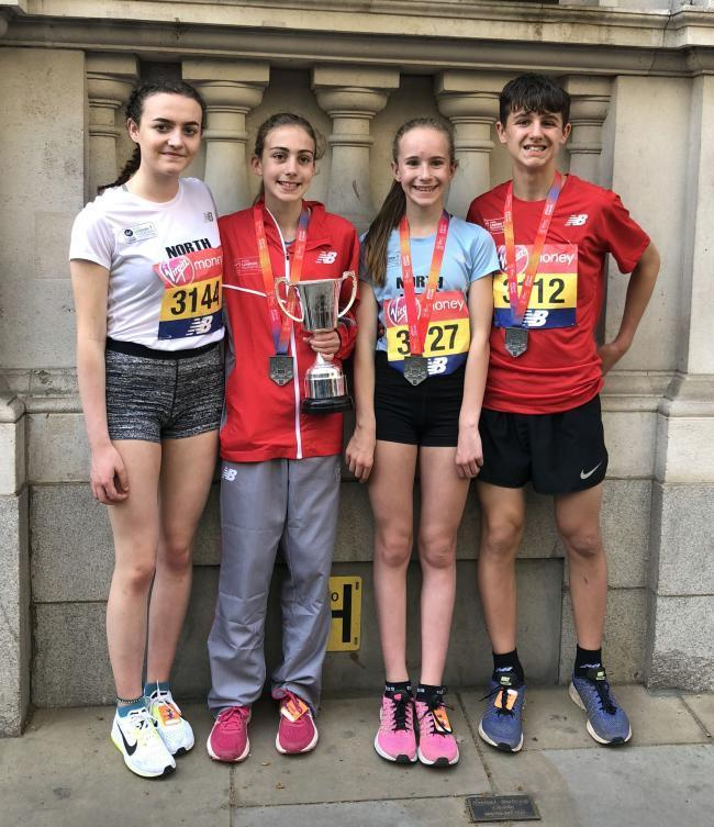 Flashback to last year's medal success for Holly Weedall in the under 13s girls' section of the Mini London Marathon. Picture: Chris Weedall