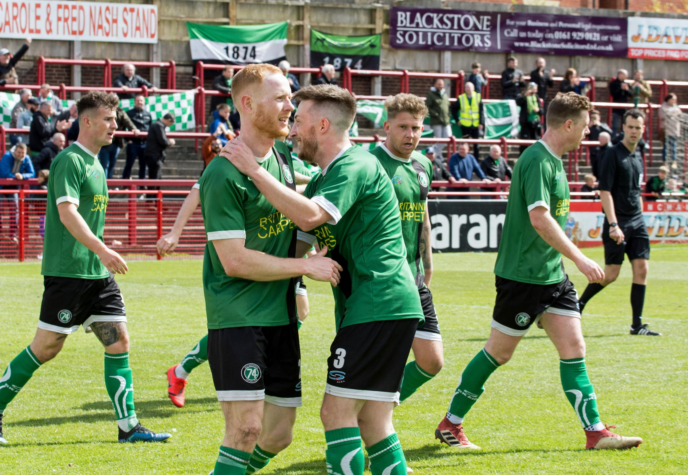 Sam Hind, left, and Matthew Russell celebrate following 1874 Northwich's goal during their Macron Cup final encounter with City of Liverpool at Moss Lane on Saturday. Picture: Ian Dutton