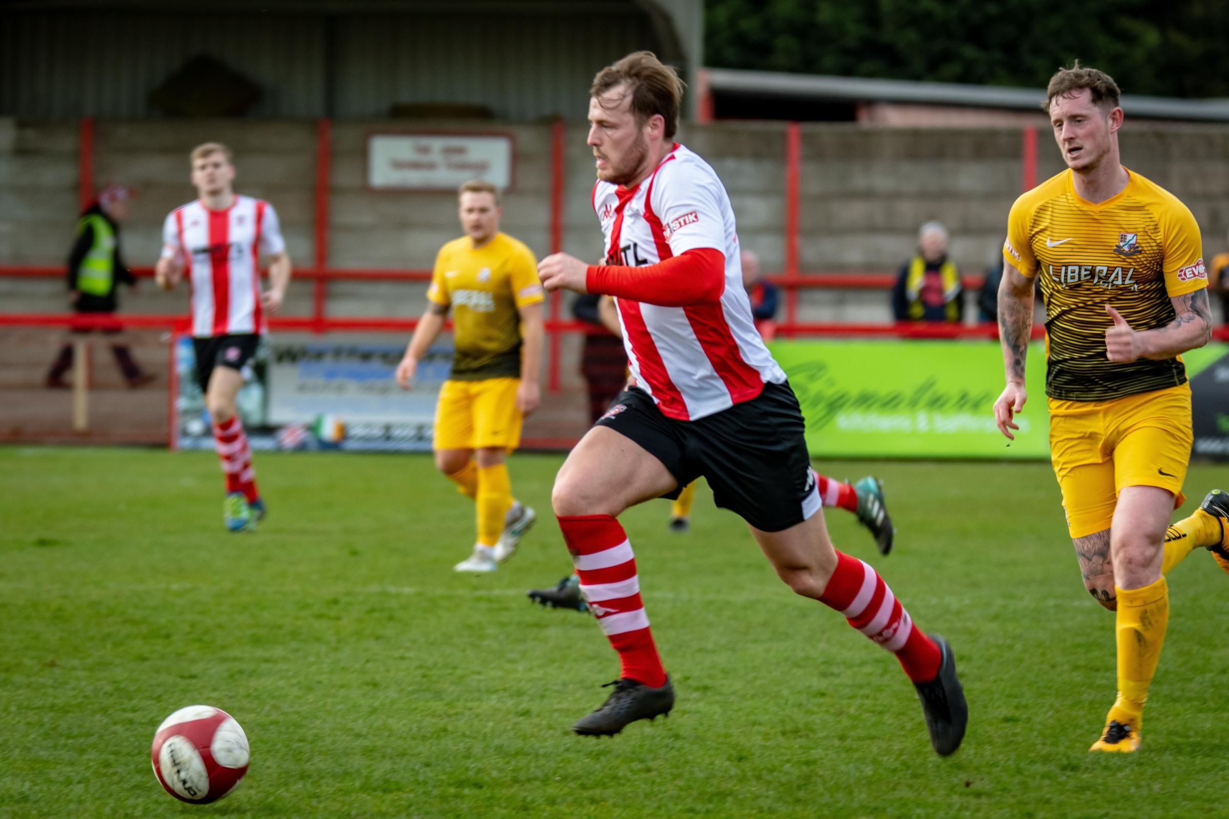 A spectacular volley by front man Will Jones against Basford United at Wincham Park in March was voted by supporters as Witton Albion's goal of the season. Picture: Karl Brooks Photography