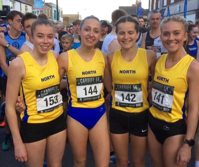 Chloe Dooley, second from left, and North of England teammates with whom she won a bronze medal in the Inter Area Team Championships that were incorporated in the Cardiff 5K