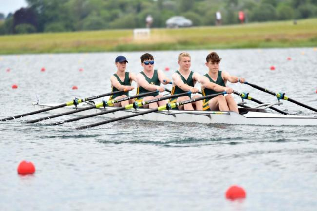 Northwich Rowing Club's under 15s boys' coxed quad, stroked by Louis Martin, on the course at Dorney Lake on Friday during the National Schools' Regatta. Picture: Ben Rodford Photography