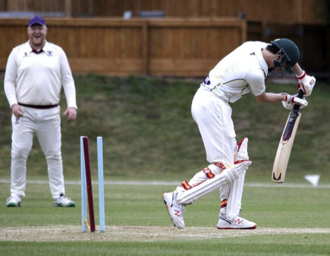 Captain James Hodgkinson reacts Matty Bebbington bowling another Oakmere batsmen during Barnton's six-wicket success against their neighbours on Thursday. Picture: Robert Hardley